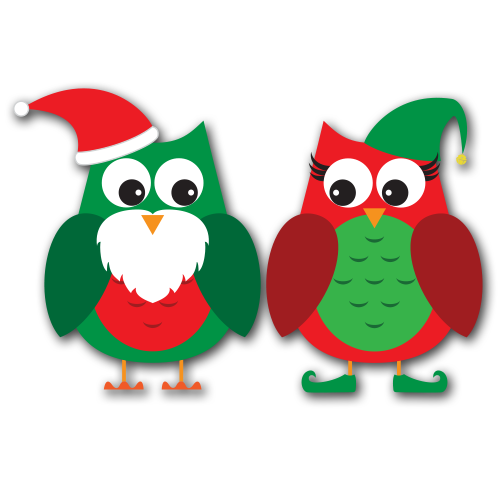 Cute Christmas Owl Clipart.