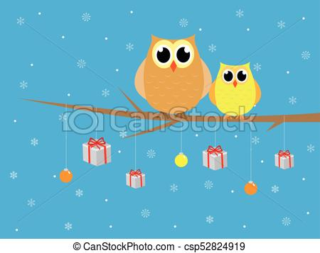 Cute merry christmas owls in tree with presents.