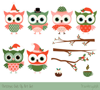 Cute Christmas owls clipart set, Christmas owls on tree branches, Winter  clipart.