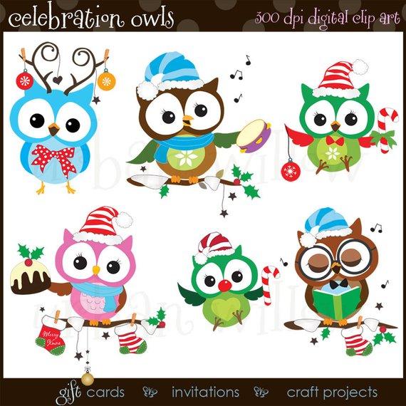 Cute Christmas Clipart Owls, Funny Christmas Clipart.