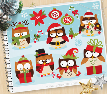 Christmas Owls Clipart, cute winter owls (Background Included!).