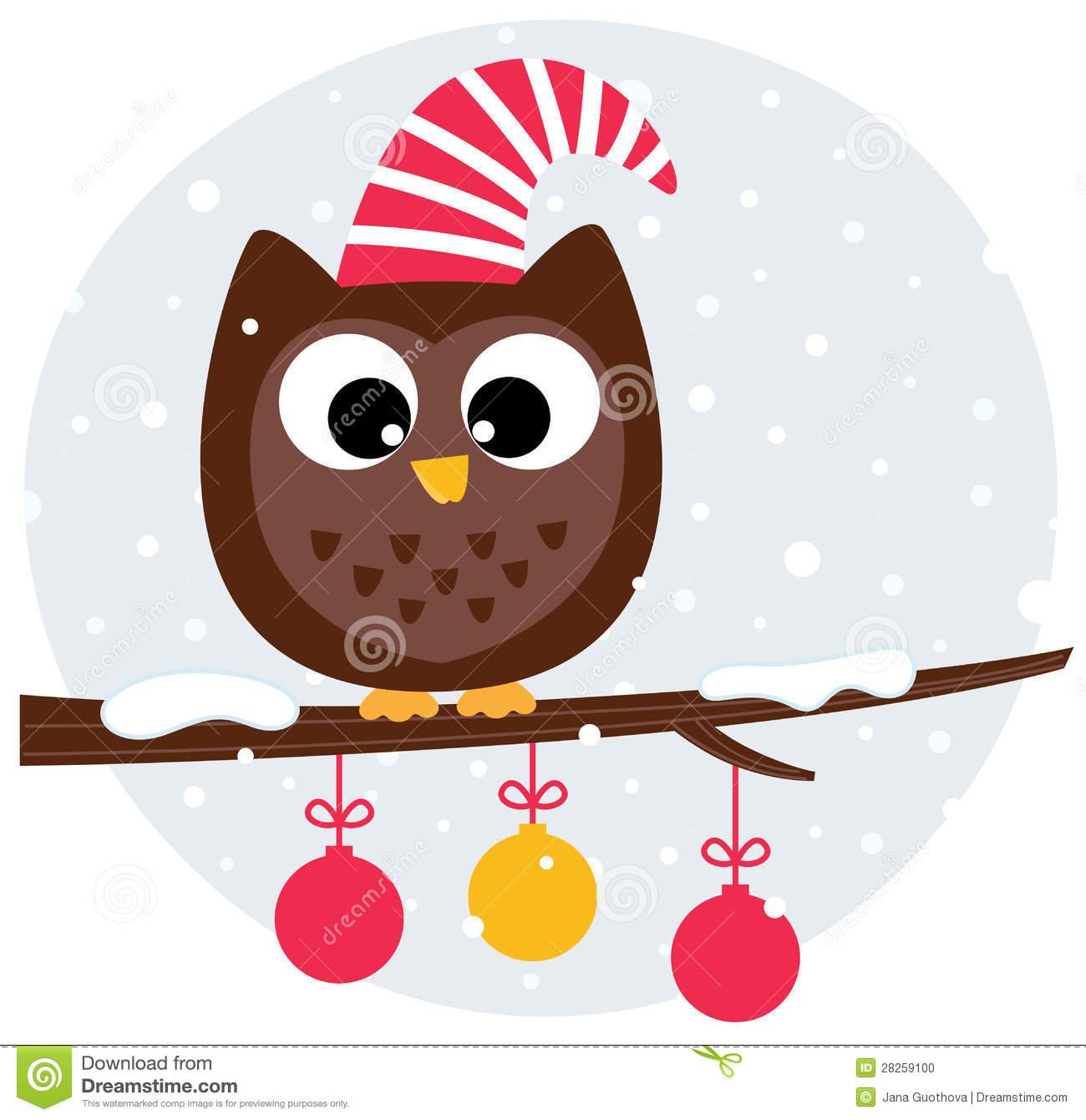 Cute Christmas Owl Clipart.