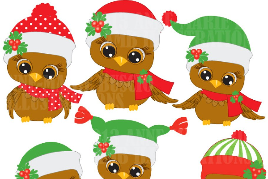 Cute Christmas Owls Clipart AMB.