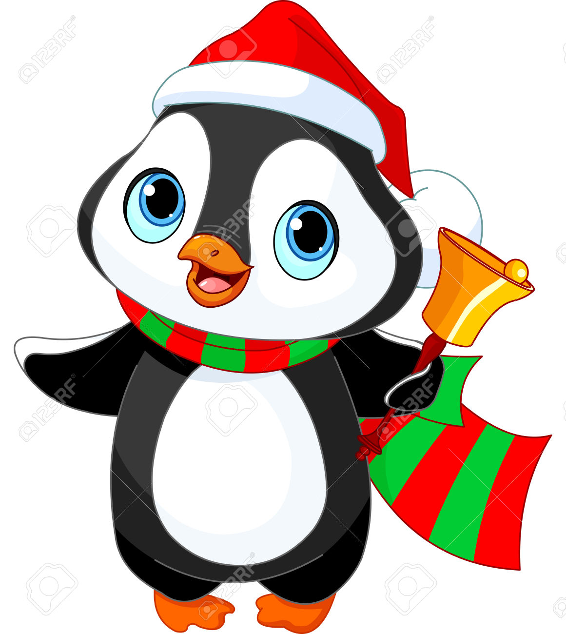 Cute Christmas Penguin With Jingle Bell Royalty Free Cliparts.