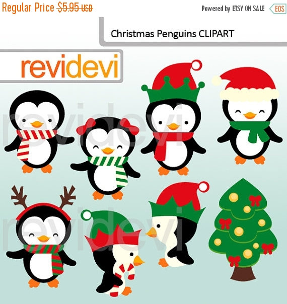 Cute christmas penguins clipart. There are 8 graphics in this xmas.
