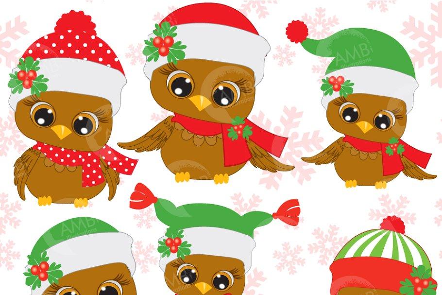 Six Cute Christmas Owls Clipart, 352 ~ Illustrations.