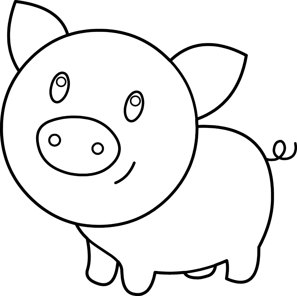 Cute Pig Coloring Pages Clipart.