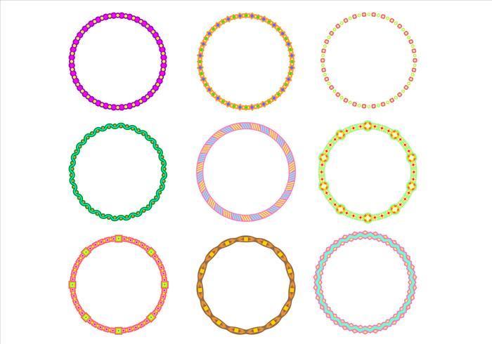Cute Circle Border Funky Frames Vector.