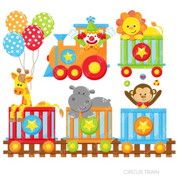 Circus Train Cute Digital Clipart, Circus Clip Art.