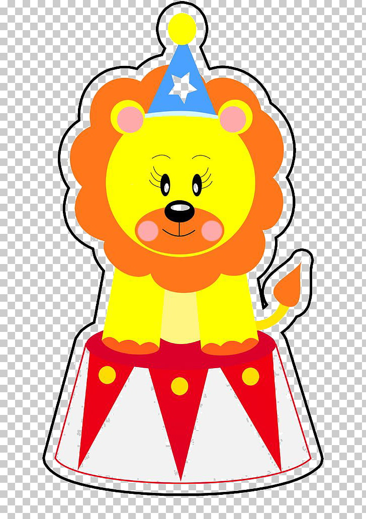 Lion Circus Clown, Free cute cartoon circus lion dig.