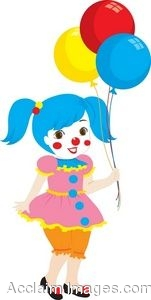 Clip Art Picture of a Girl Dressed up As a Clown.