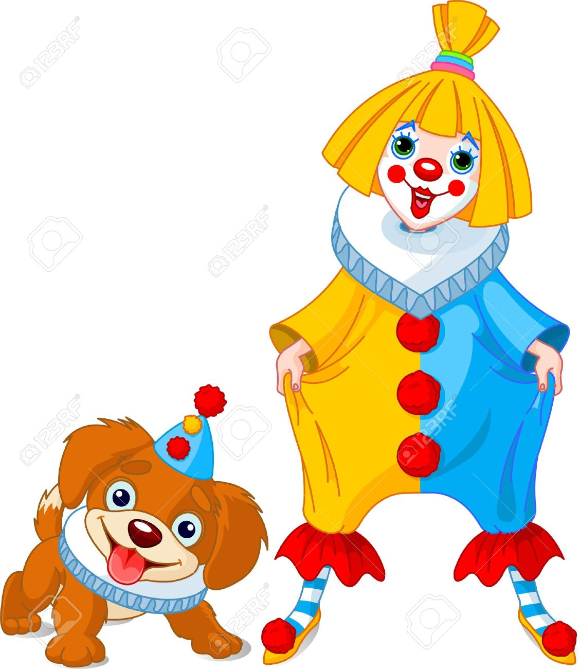Funny Clown Girl With Her Friend   Clown Puppy Royalty Free.