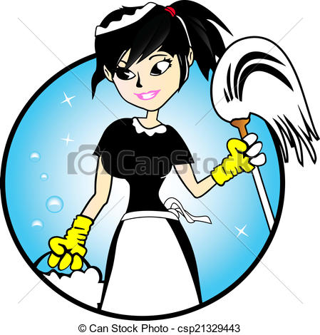 Cute Cleaning Lady Clipart.