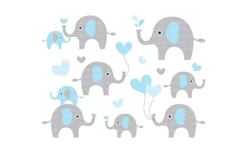 Cute Elephants Clipart (LES.CL10A).