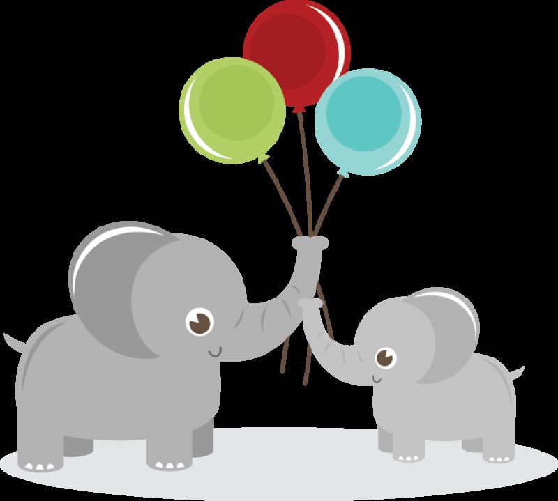 Elephants Holding Balloons SVG elephant clipart cute clip art cute.