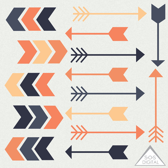 Retro Orange Arrow Clipart Clipart Arrows Cute Arrows.