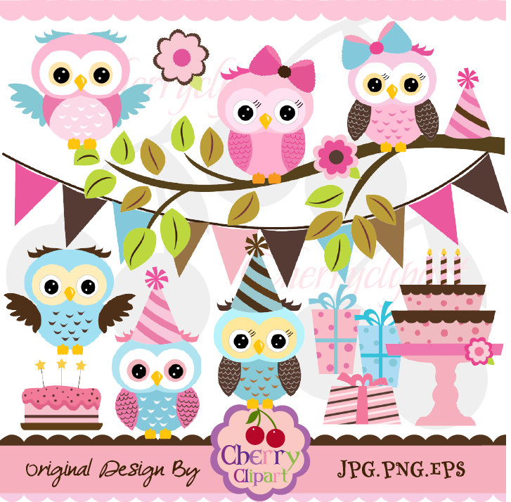 Pink Brown and Blue cute owls birthday digital clipart set for.