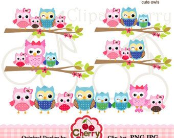 Pink blue brown cute owls and butterflies digital clipart set for.