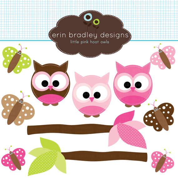 Pink Owl Clipart Butterflies and Tree Branches Commercial Use.