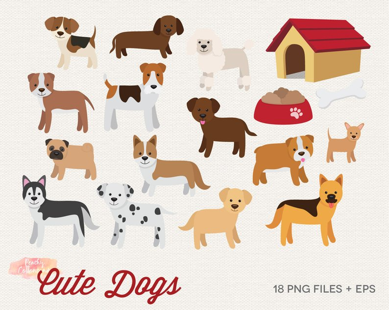 BUY 2 GET 1 FREE Cute Dogs Clipart Dog Clip Art Etsy Average Free.