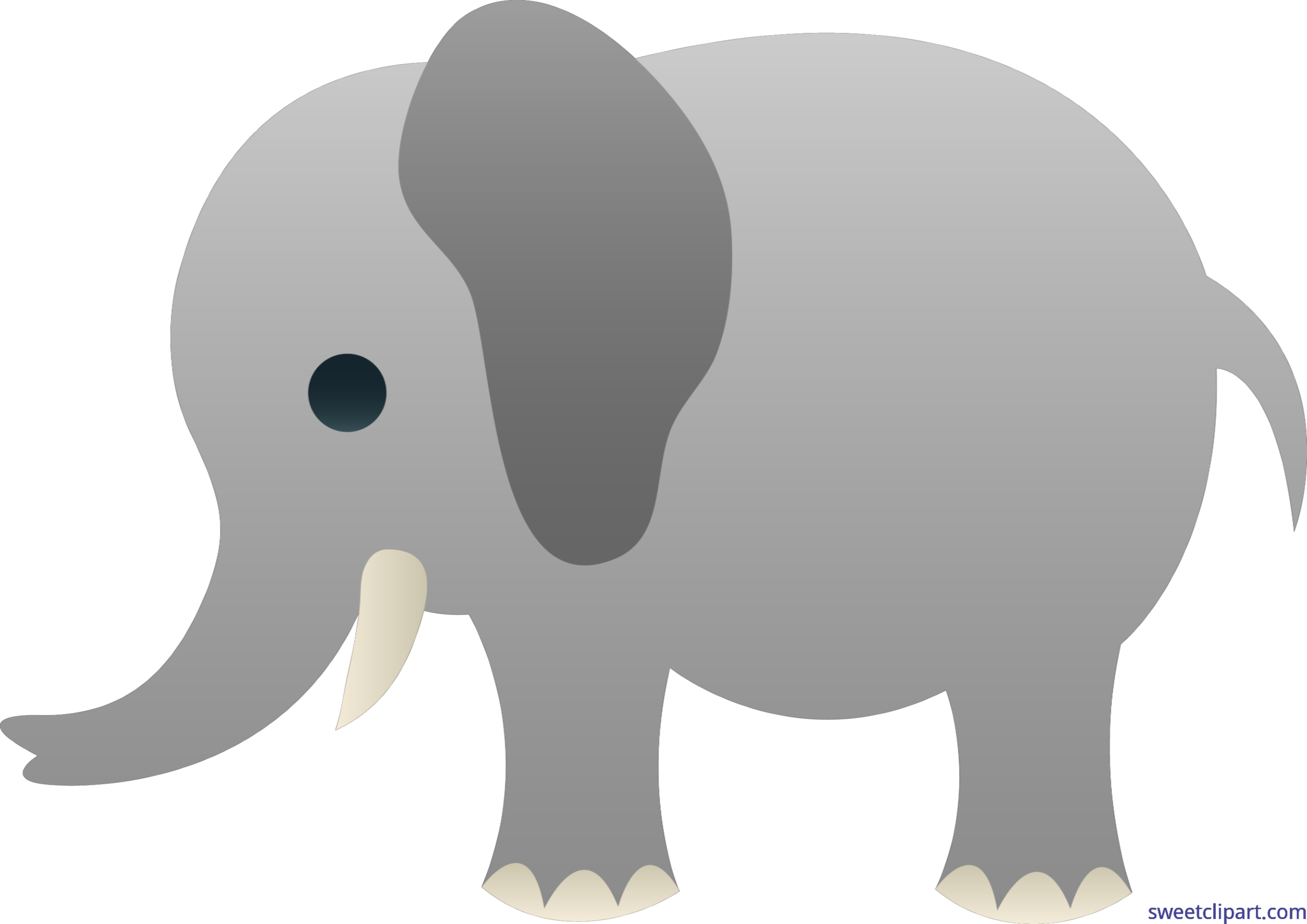 Cute Gray Elephant Clip Art.