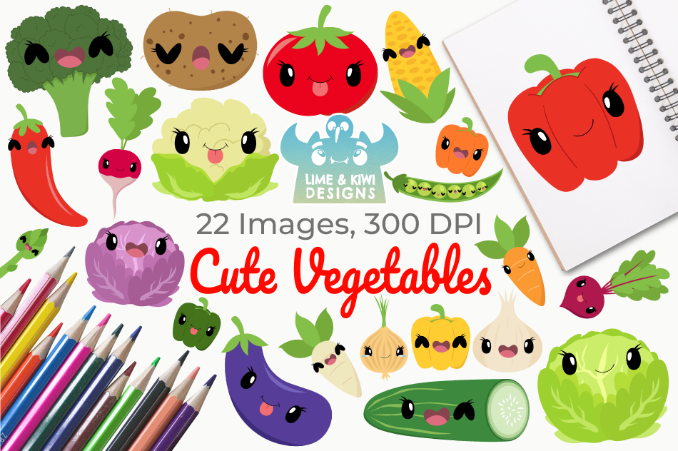 Cute Vegetables Clipart, Instant Download, Commercial Use By.