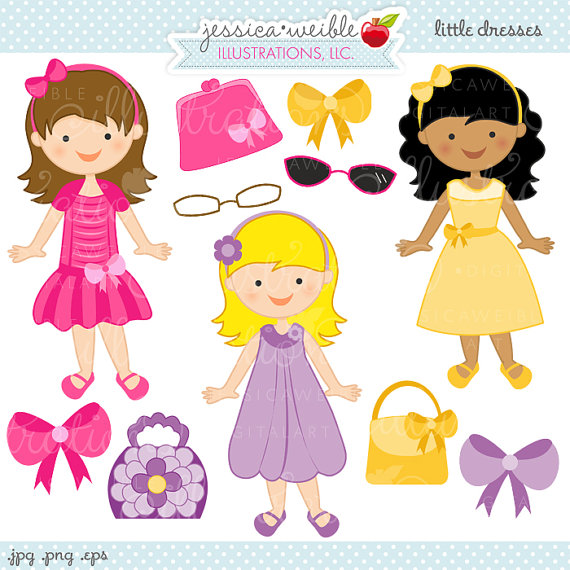 Little Dresses Cute Digital Clipart, Girls in Easter Dresses.