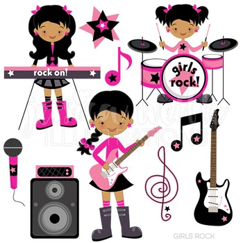 Dark Girls Rock Cute Digital Clipart, Rock by JW Illustrations.