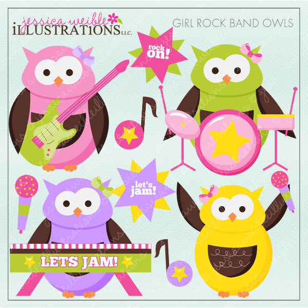 Girl Rock Band Owls Cute Digital Clipart for Card Design.