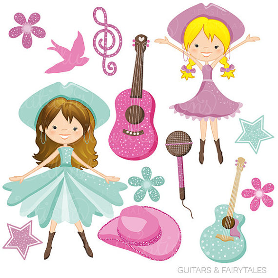 Guitars and Fairytales Cute Digital Clipart.