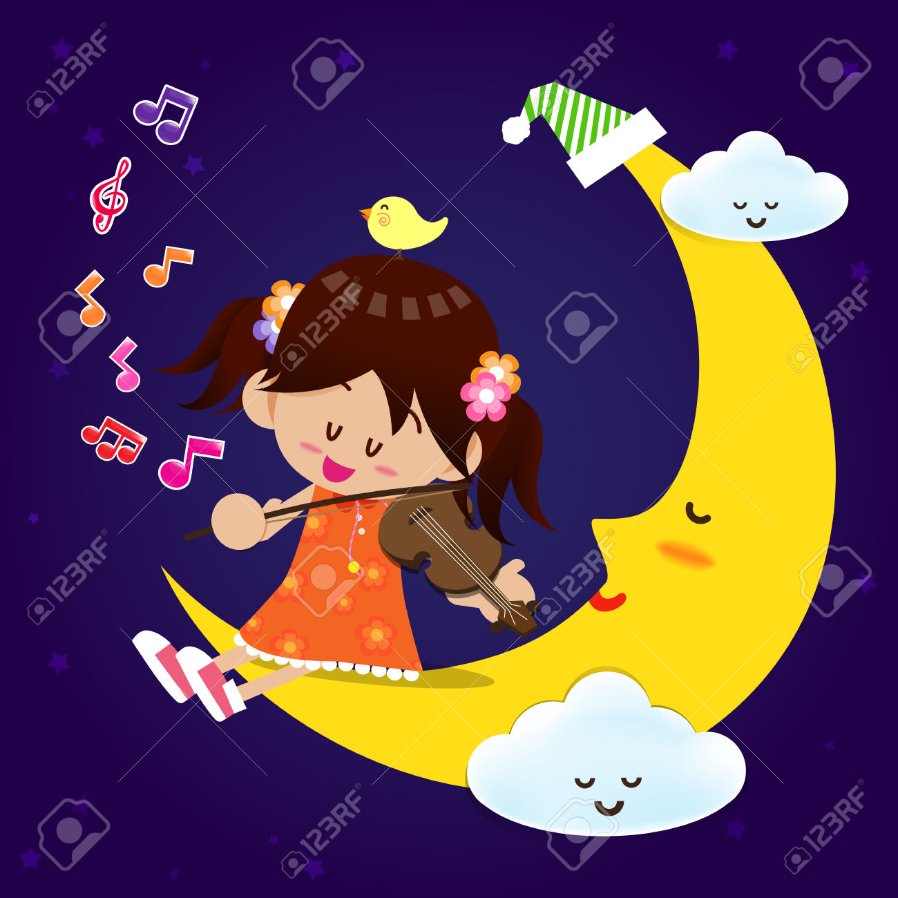 Smile Cute Girl Play The Music With Violin On The Sleeping Moon.