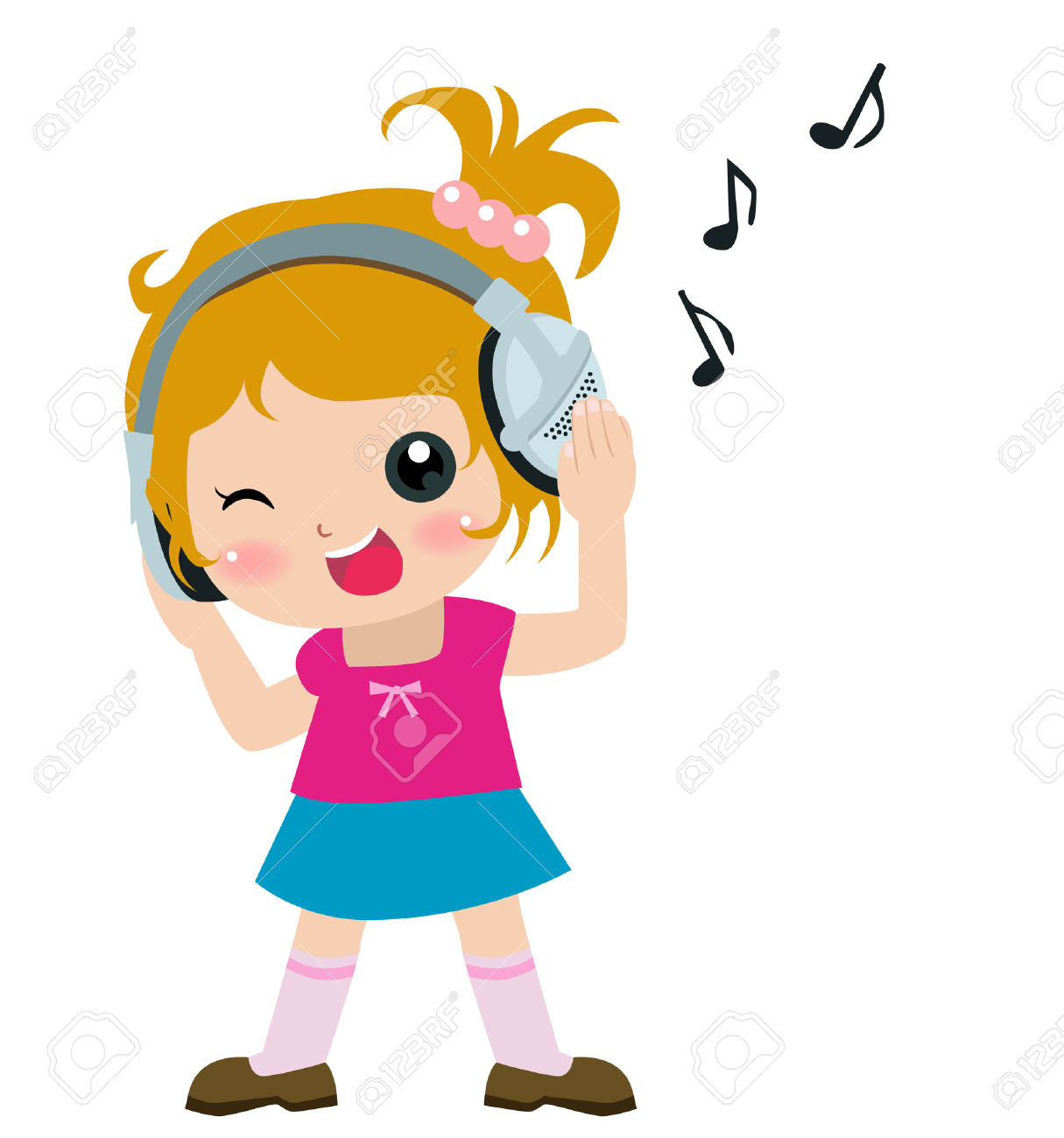 Illustration Of A Cute Girl Listening Music Royalty Free Cliparts.