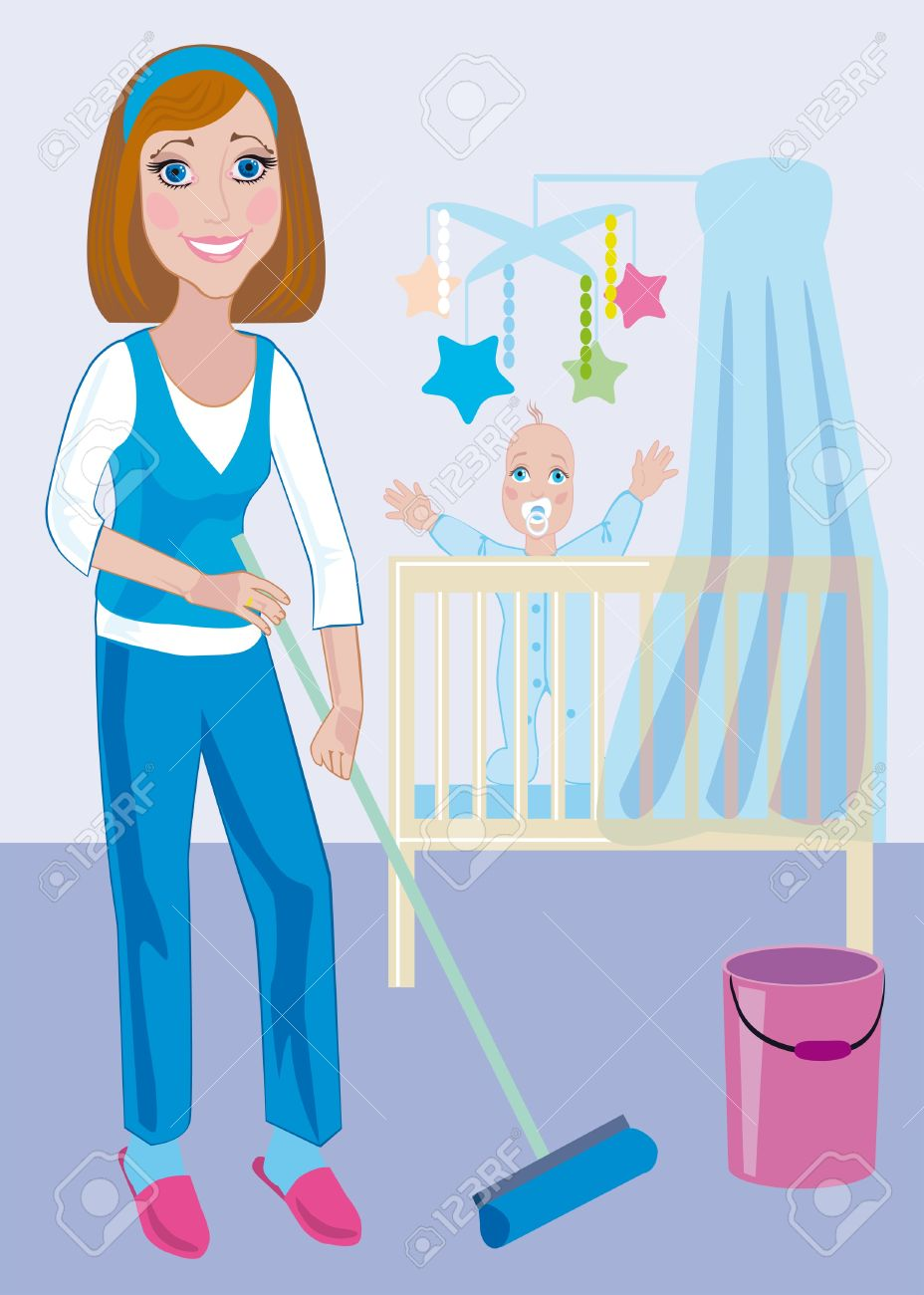 Cute Clipart Mom Hand Vac.