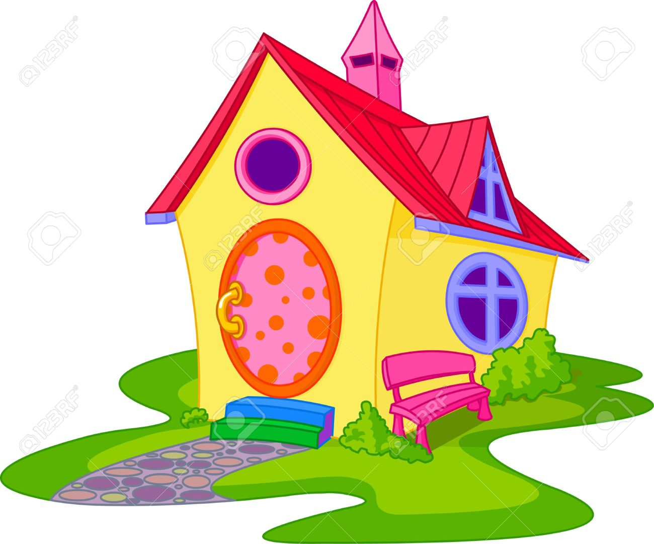 Fantasy Cute House With Front Yard Royalty Free Cliparts, Vectors.