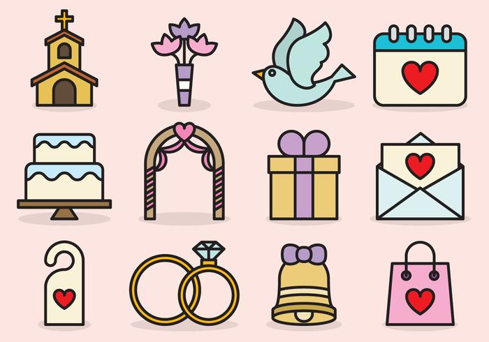 Cute Wedding Icons.