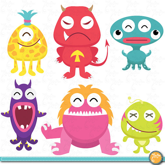 Cute Litter Monsters Clip art Set Lcm005 Personal and Commercial.