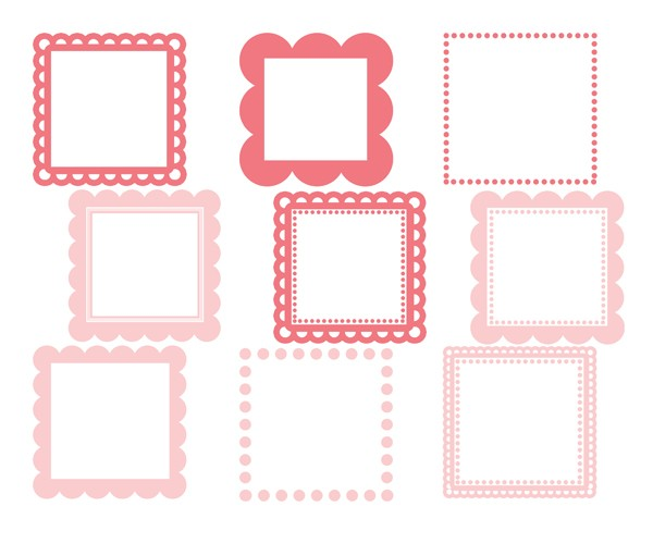 Scalloped Square Frames (Baby Pink).