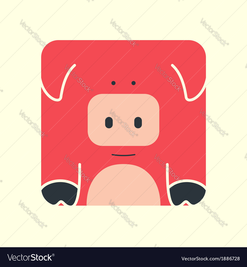 Flat square icon of a cute pig Royalty Free Vector Image.