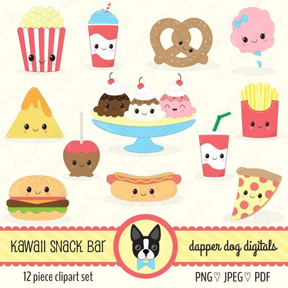 Kawaii Snack Food Clipart Pack.