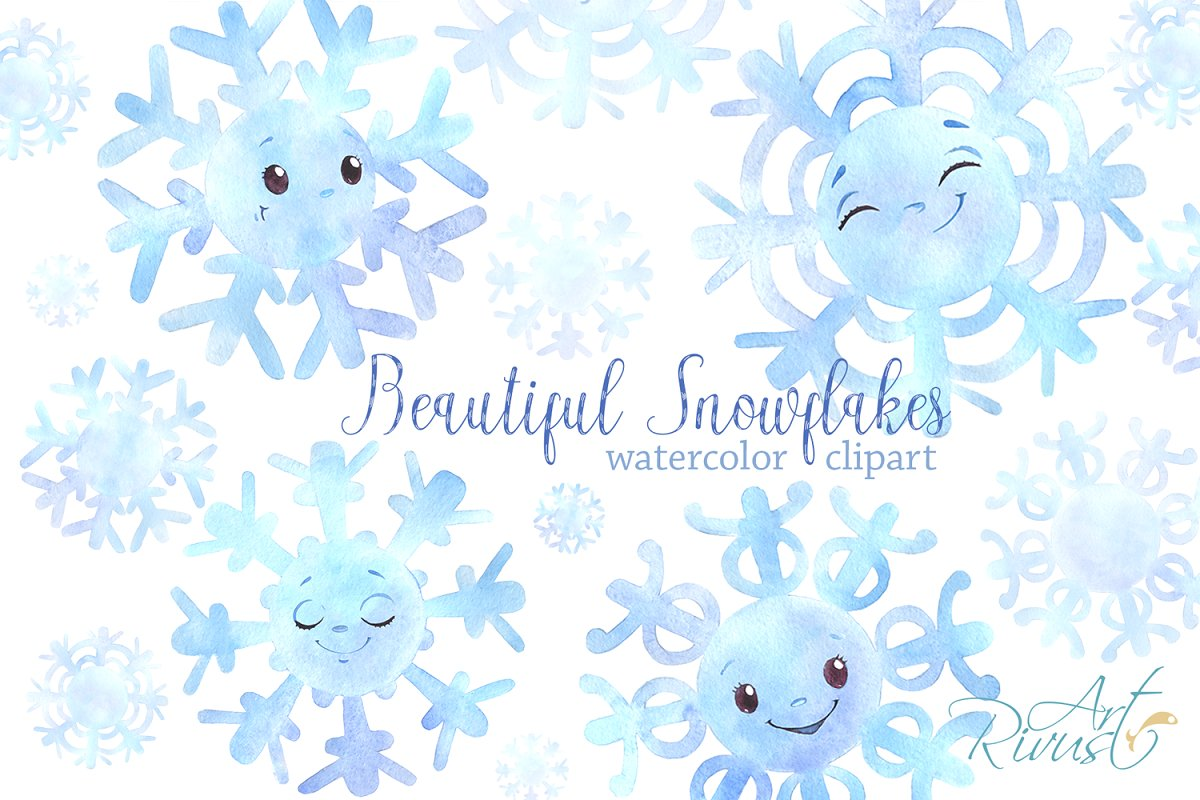20 Cute snowflakes PNG clipart pack.