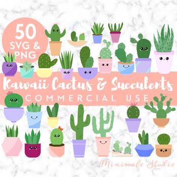 Cute Cactus Succulent Clipart Pack, Houseplant SVG PNG.