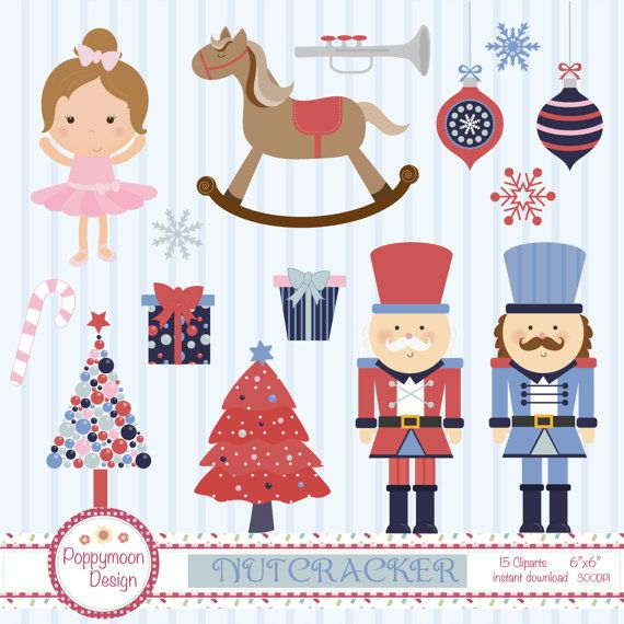 A cute nutcracker clipart pack, using a fun colour palette.