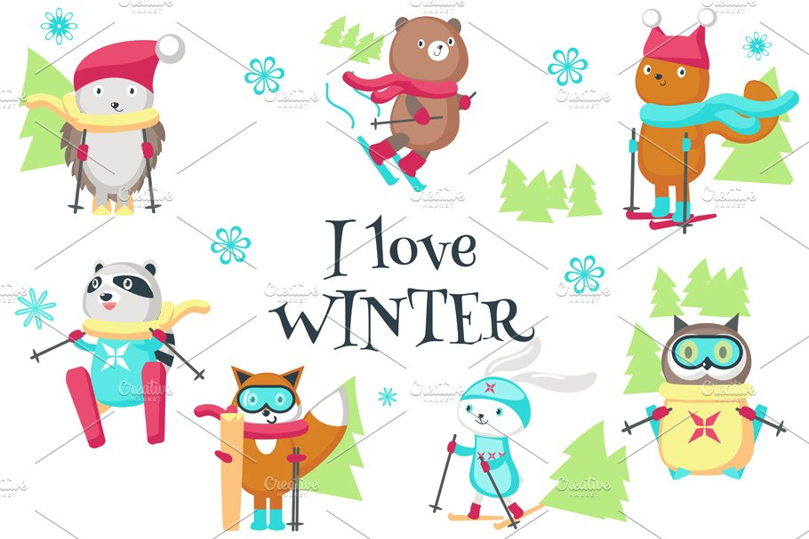 Cute animals skiing clipart pack.