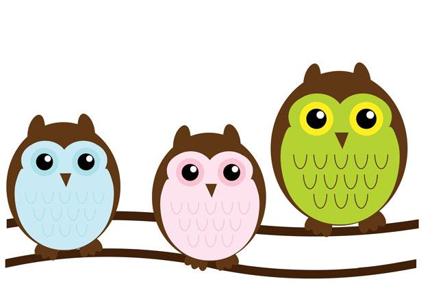 Owl Family Cute Clipart Free Stock Photo.