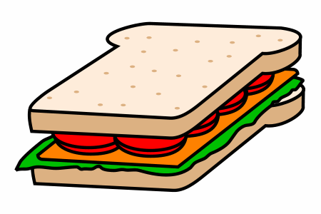 Drawing a cartoon sandwich.