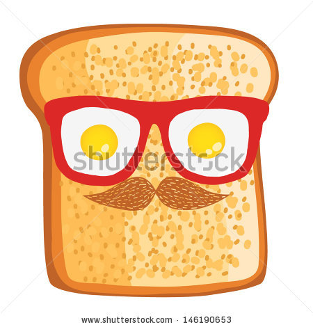 Cute Cartoon Toast Sandwich Hipster Glasses Stock Vector 146190653.