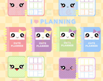 Cute Washi Tape Clipart Printable Stickers Kawaii Planner.