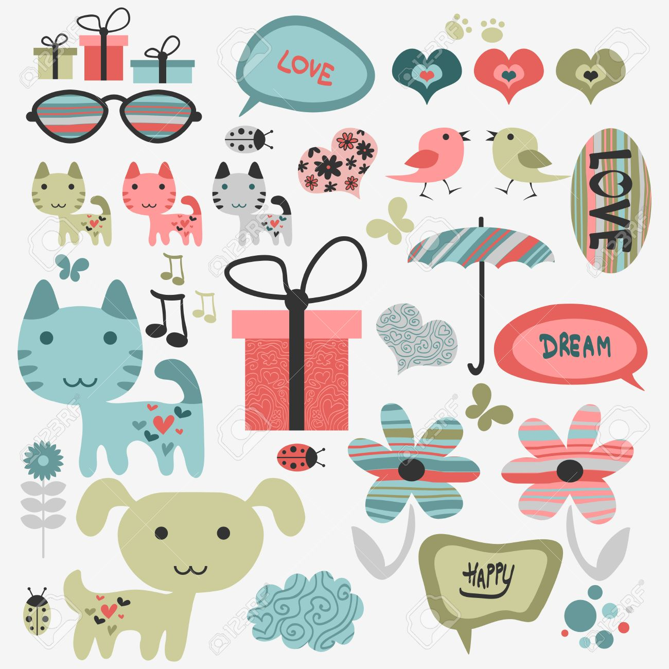 Set of cute scrapbook elements with animals.