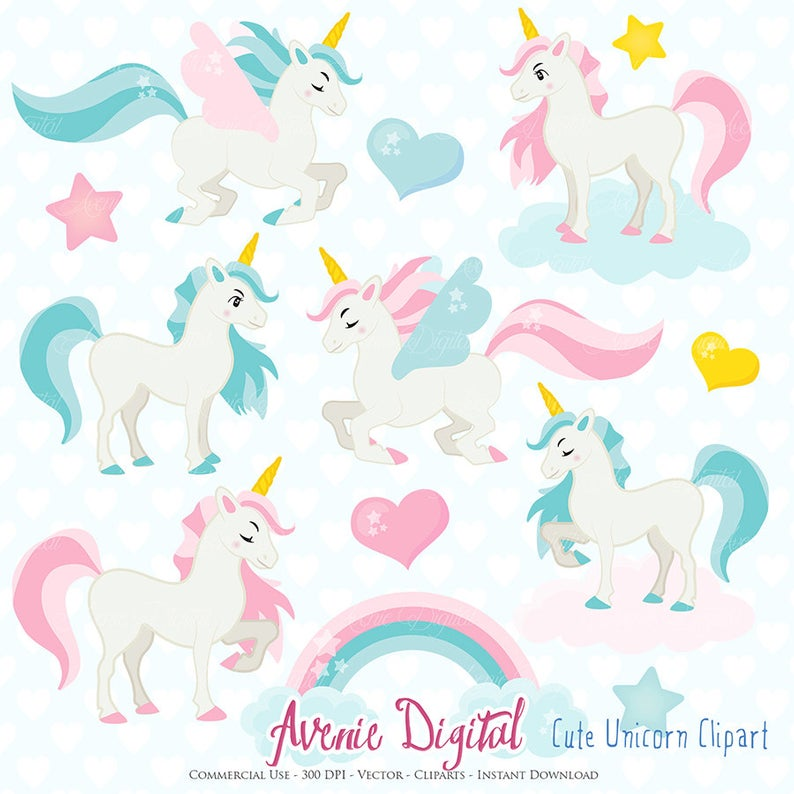 Cute Unicorn Clipart. Scrapbook printable little pony clip art png for  Commercial Use. Colorful rainbow unicorns horse graphics.