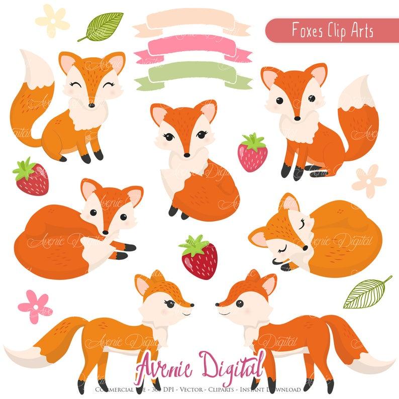 Cute Fox Clipart Scrapbook printables, Autumn clip art set for Commercial  Use. Fall.